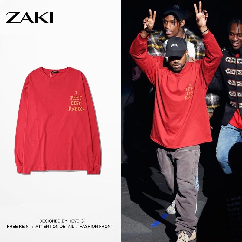 Yeezy T Shirt Men I Feel like Kobe Pablo The Real <font><b>Life</b></font> of Pablo Yeezy Season 3 yeezus Kanye West Red Long Sleeve Yeezy T Shirt