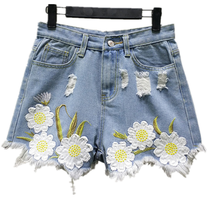 Women's Clothing B2458 New Style Spring And Summer 2019 Students Lace Embroidered Women Loose Wide Leg Hot Denim Shorts Cheap Wholesale