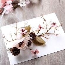 Япония и Южная Корея стиль невесты головной убор Sen женский розовый шелк пряжа цветок аксессуары для волос филиал 0411-11