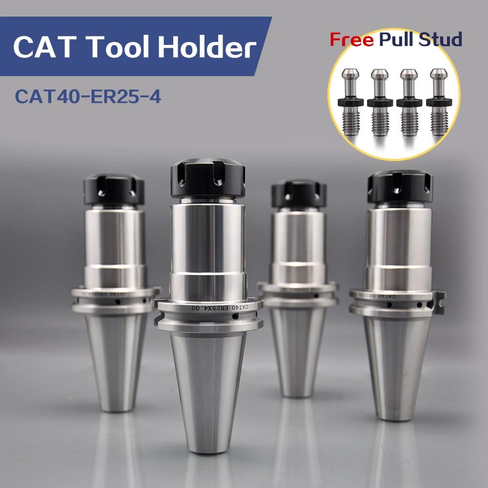 Купить с кэшбэком High Precision Milling Collet Chuck 4pcs CAT40 ER25 tool holder and 1pcs CAT40 pull stud wrench Fit CAT40