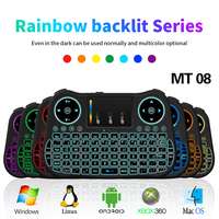 MINI MT08 2 4GHz Wireless Keyboard 7 Color Backlit English Remote Control Touchpad For Android TV