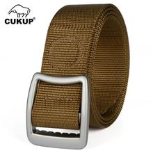 CUKUP Mens Fashion Anti Allergy Buckles Metal Belts Quality Outdoor Nylon Jeans Accessories 3.8cm Wide Belt for Men CBCK084