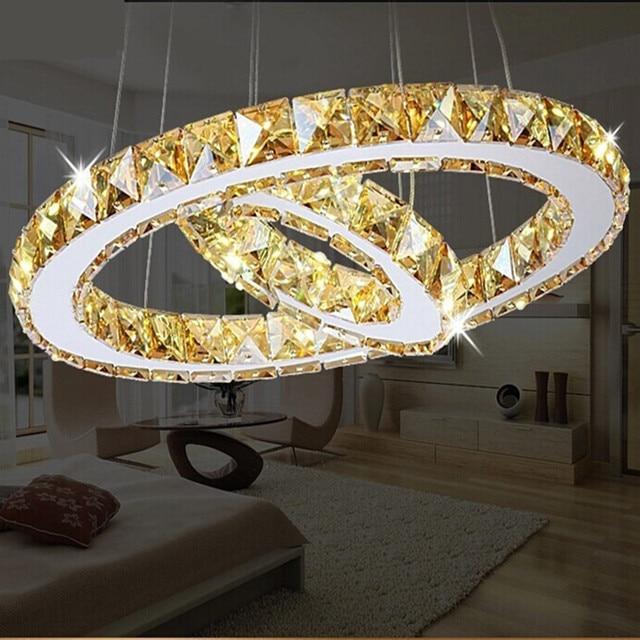 2 rings LED Chandeliers Creative round restaurant modern crystal lamp living room dining room lighting garden golden lamps
