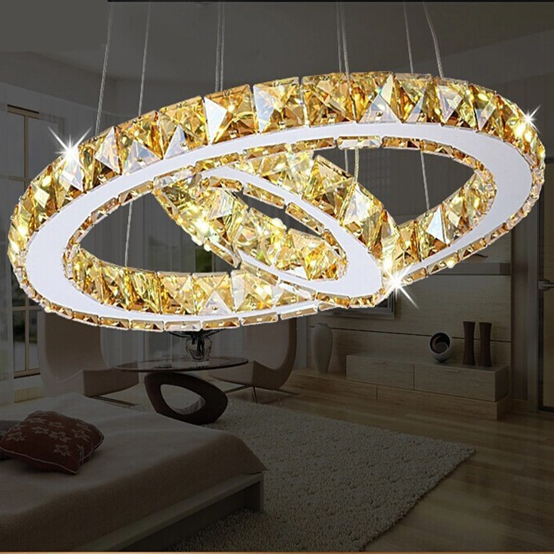 2 Rings LED Chandeliers Creative Round Restaurant Modern Crystal Lamp  Living Room Dining Room Lighting Garden