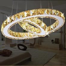Plafonnier LED rond en cristal, 2 anneaux, design créatif moderne, éclairage décoratif de plafond, luminaire décoratif de plafond, idéal pour un salon, une salle à manger ou un restaurant, LED