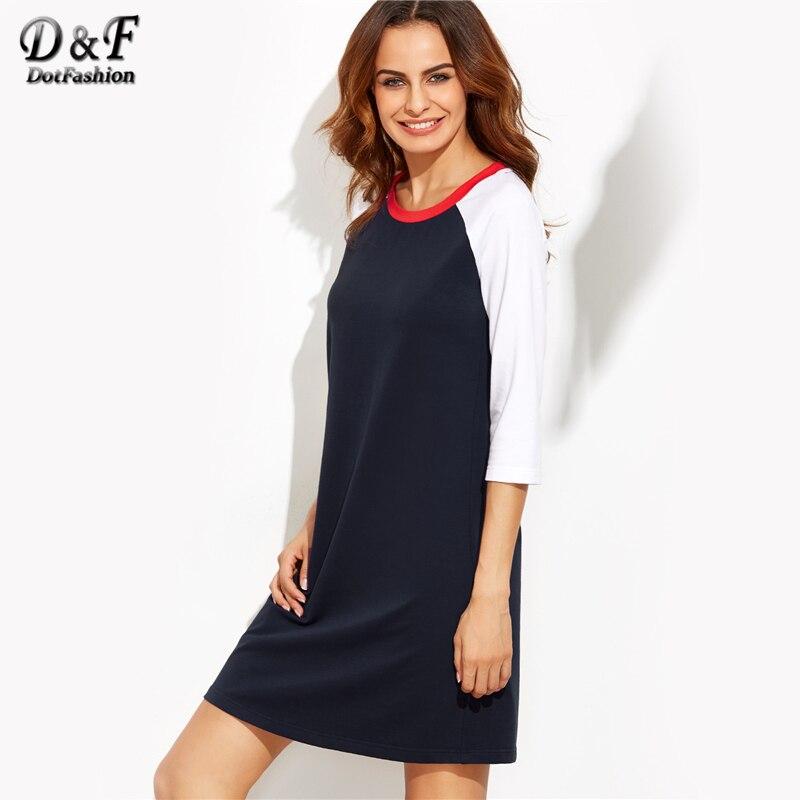 Короткое платье реглан