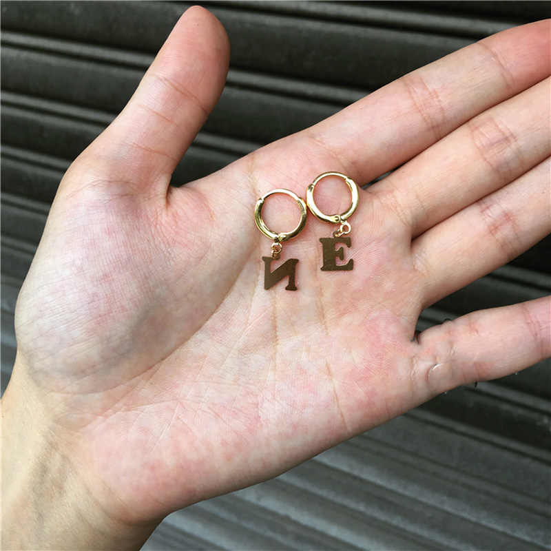 WTLTC Boho Small Letter Huggies Hoop Earrings for Women Gold Single Initial Hoops Earrings Personalized Dangling Charm Earrings