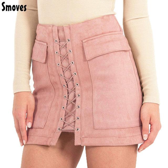 Smoves Apertado das Mulheres Do Vintage de Cintura Alta Bolso Externo Camurça Rendas Até Saia Outono Inverno Grosso Saia Lápis Formal Mini saia