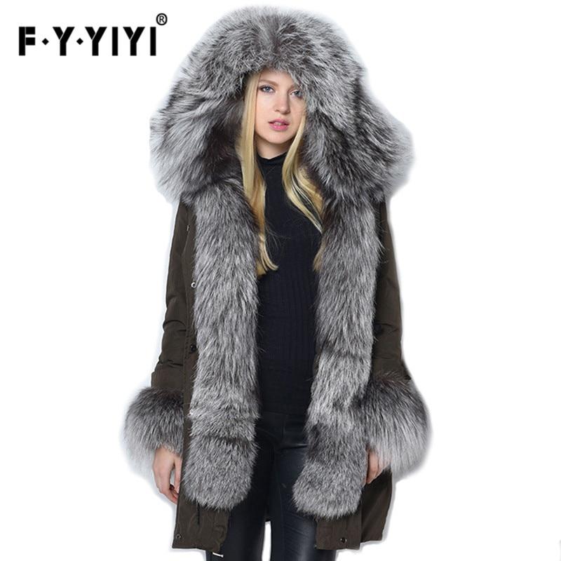 veste fourru Real Silver Fox Fur Women Winter Mink Jackets Female   Down     Coats   White duck   down   doudoune femme fourrure capuche