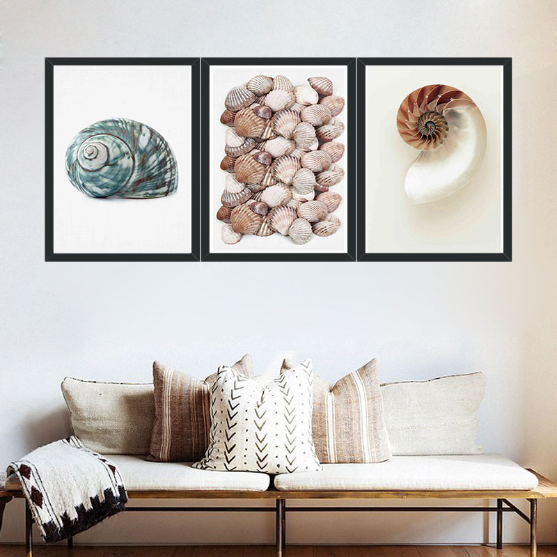 Modern Minimalism Style Shells  Decoration Wall Art Pictures  Canvas Painting For Living Room Home Decor Unframed