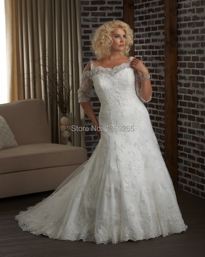 Free Shipping Plus Size Wedding Dresses Women Lace Half Sleeve Bride