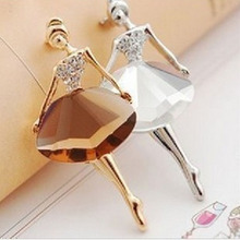New Girls Fashion Trendy Charming Beautiful Princess Ballerina Brooch Crystal Pins Jewelry Accessories