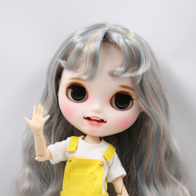 Blyth Doll 1/6 Joint Body hand painted matte face white skin mixed color curls hair suit 30cm DIY BJD SD toys gift