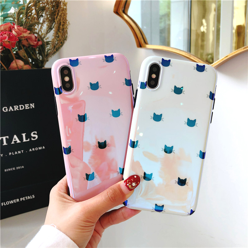 BROTOLA Luxury Glossy Blue Light Lovely Cat Phone Case For iphone 7 8 X 6 6S Plus Case Silicone Soft Pattern Lovely Case Capa