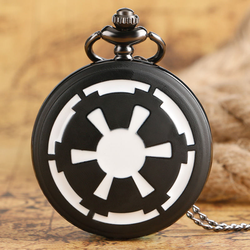 Star Wars First Galactic Empire Crest Black Smooth Quartz Pocket Watch With Necklace Chian Men Women Gift Free Drop Shipping