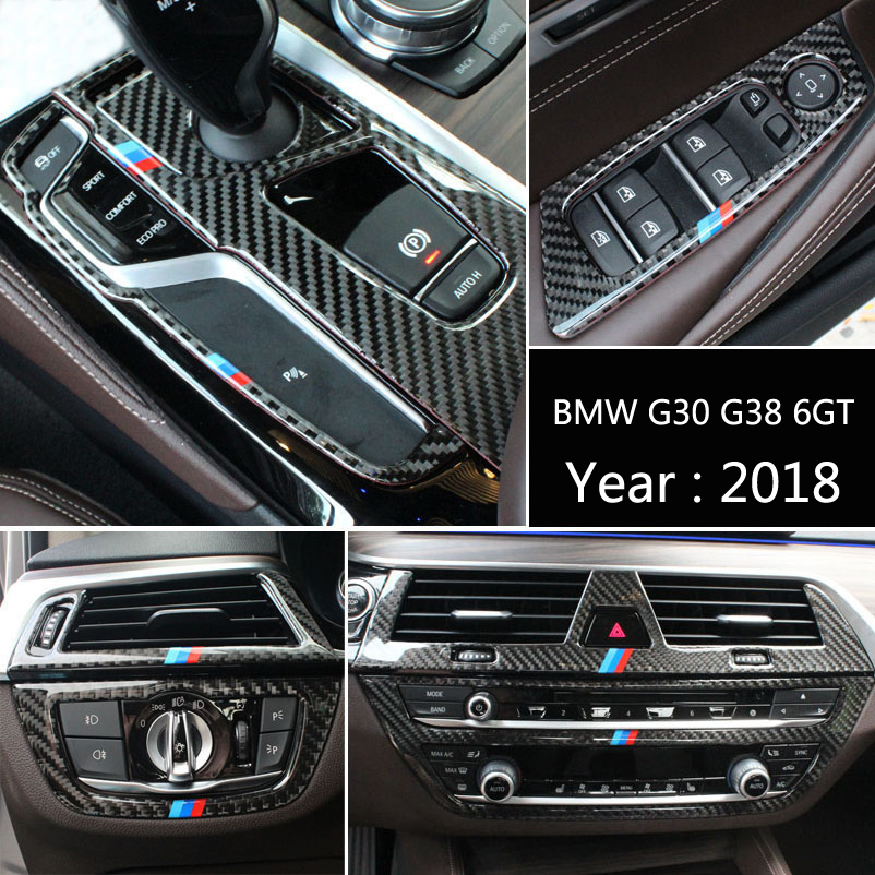 For BMW G38 6GT G30 2018 Carbon Fiber Car Gearshift Air Conditioning Outlet CD Panel Frame Cover Trim Sticker Auto Accessories