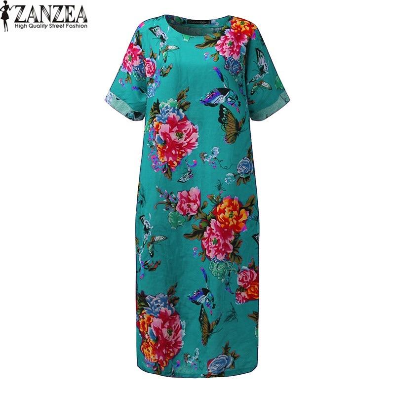 2018 ZANZEA Women Short Sleeve O Neck Summer Floral Print Cotton Linen Baggy Casual Loose Split Kaftan Maxi Long Dress Plus Size