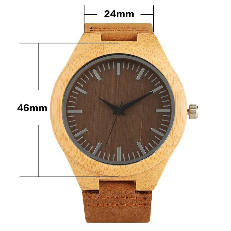 fe86c0d74bc ... Handmade Wooden Clock Gifts Women Watches Leather Strap Casual Quartz  Bamboo Wristwatch Mens Wooden Watches relogio ...