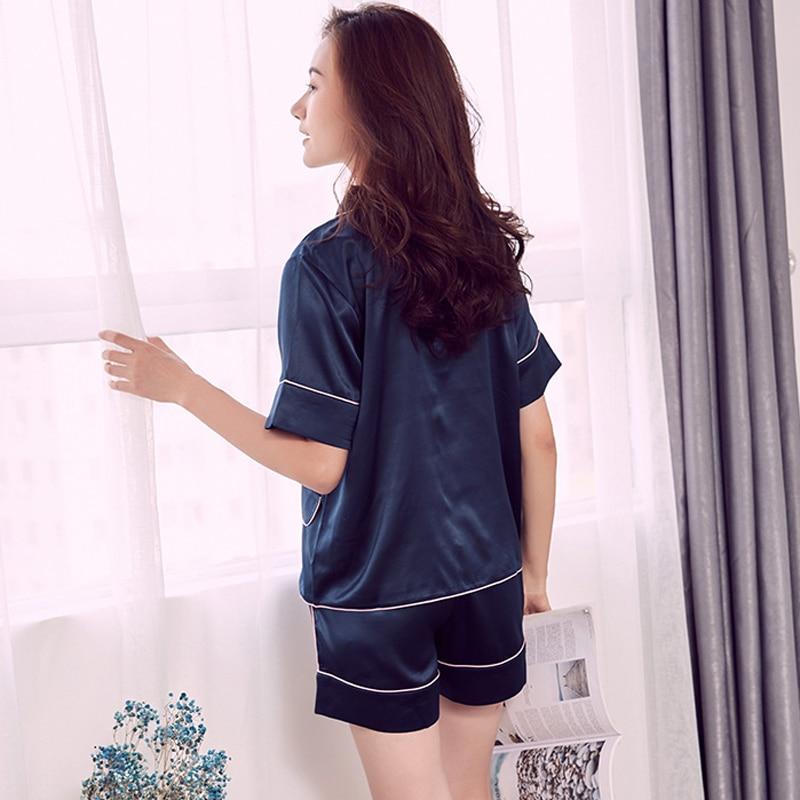 High quality satins Women silk Pajamas sets sexy shorts pj sets women  pyjamas pijamas fashion casual indoorwear Plus size-in Pajama Sets from  Underwear ... bc14eeac6