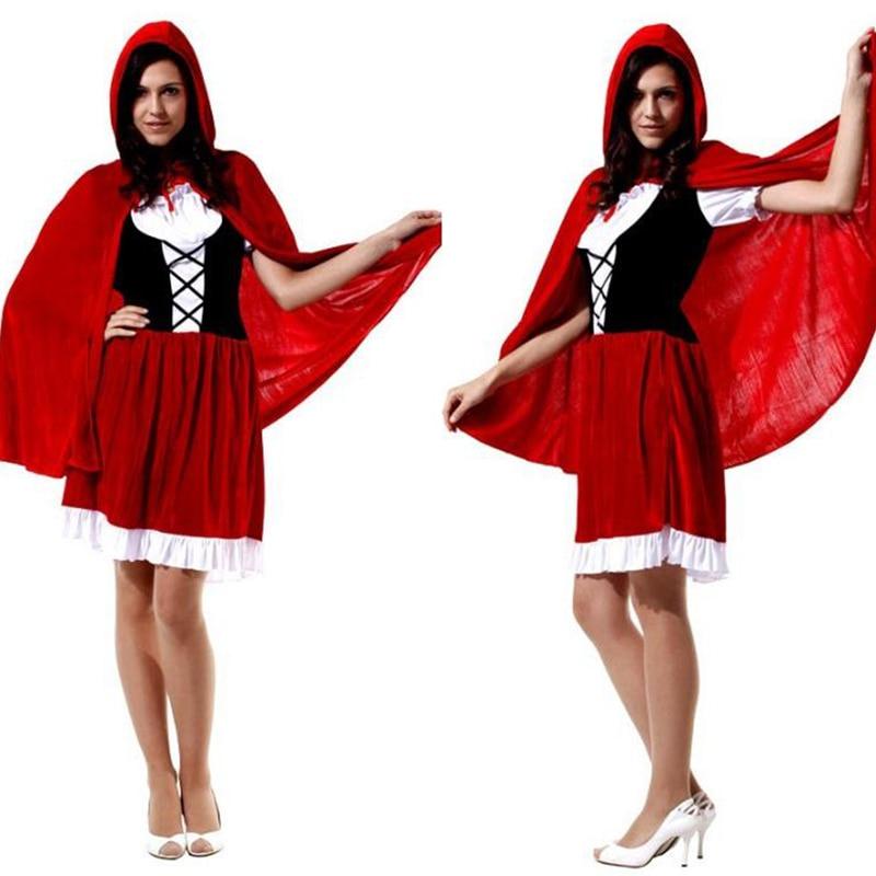 2017 Little Red Riding Hood Costume for Women Fancy Adult Halloween Cosplay Fantasia Plus Size 165cm-178cm Girls COS Dress+Cloak