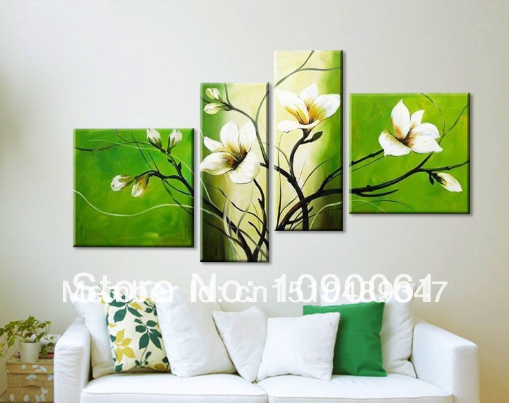 Handmade Green White Orchid Flowers Oil Painting Canvas 4 piece Wall art Decoration Home Modern Pictures wall Frame - Enjoy Living Museum store