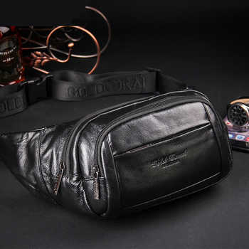 GOLD CORAL Genuine Leather Waist Belt Bags For Men Casual Messenger Shoulder Bag Purse Travel Phone Pouch male Crossbody Bags