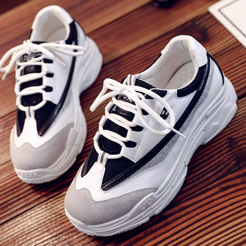 901234f519424 Detail Feedback Questions about 2019 Spring Fashion Women Casual Shoes  Leather Platform Shoes Women Sneakers Ladies White Chunky Trainers Women  Chaussure ...