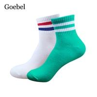 Goebel Man Socks Cotton Fashion Stripe Mens Casual Socks Comfortable Breathable Male Medium Tube Socks 5pairs