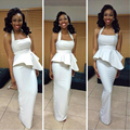 Nueva Halagado Blanco Satén Vaina Peplum Mujeres Vestido de Noche Vestido de Noche 2016 Elegante Africano