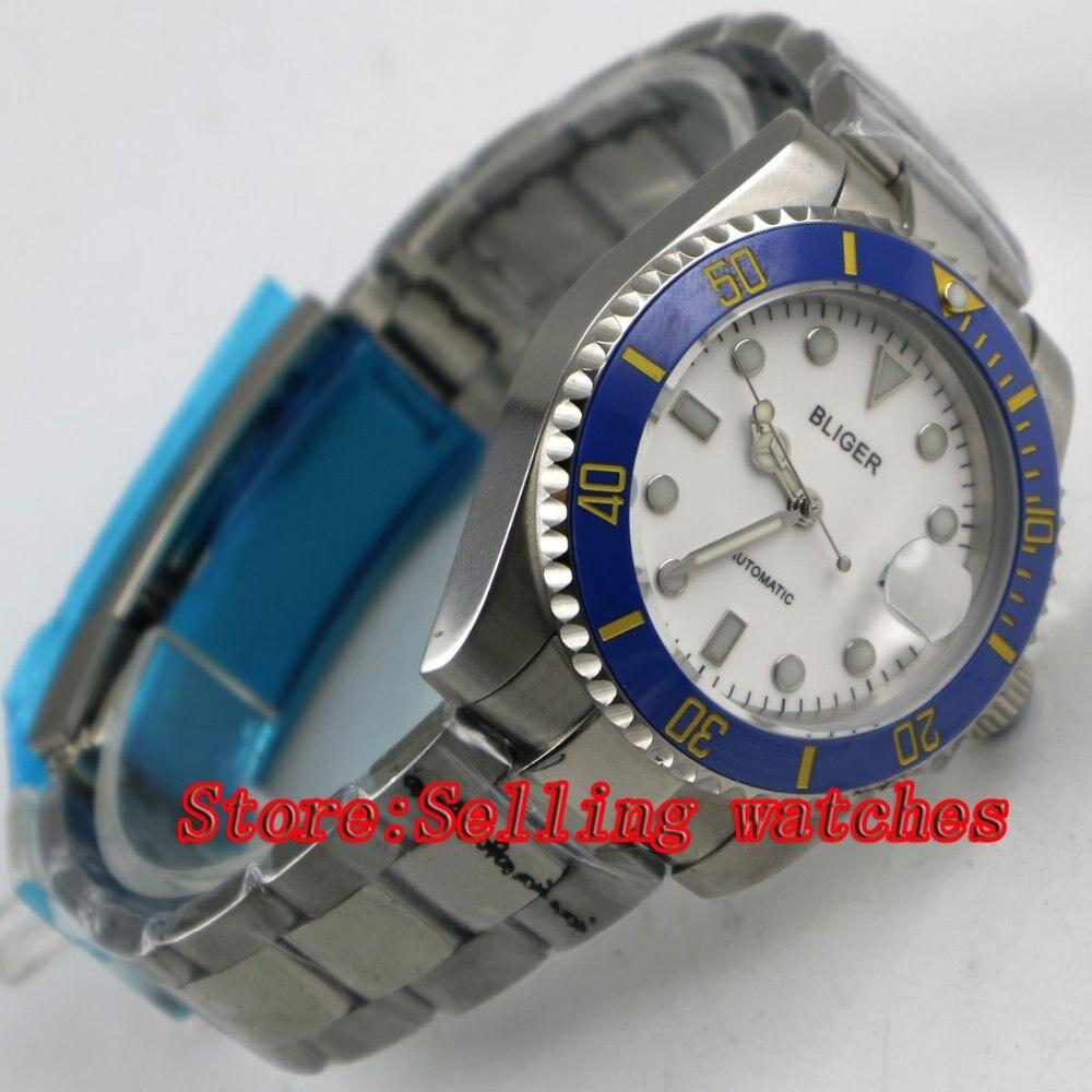 Bliger 40mm white dial luminous saphire glass blue Ceramic Bezel Automatic movement men's watch men цена и фото