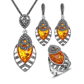 2016 New Arrival Unique Antique Jewelry Silver Plated Necklace Set Black Crystal And Orange Resin Jewellery Sets For Women