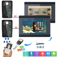 Yobang Security WIFI Wireless(Wired) RFID Password 7 Inch LCD Visual Home Video Intercom APP Remote Control 2 Camera 2 Monitor