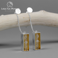 Lotus Fun Moment Real 925 Sterling Silver Natural Creative Fashion Jewelry Sense of Spring Bamboo Dangle Earrings for Women