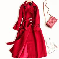 2019 New Autumn FASHION Trench Coat Women Long Elegant Outwear Female Overcoat Slim Red Suede Cardigan Trench