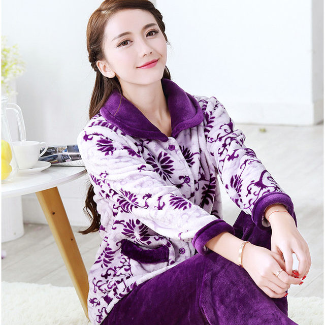 0d9a65986b8 Online Shop Voplidia Plus Size Women Flannel Thich Fleece Pajamas ...