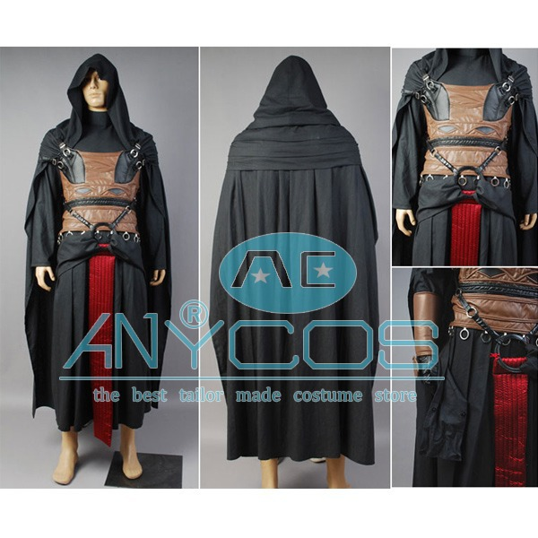 Star Wars Obi-Wan Kenobi / Darth Revan Outfit Cape Jedi TUNIC Robe Film Halloween Cosplay Kostym För Män