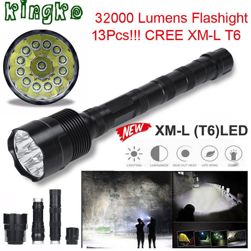 High Quality 32000 Lumens 13x CREE XML T6 5 Mode 18650 Super Bright LED Flashlight1.16 high quality 3x cree xml t6 15x cree xml t6 led b 32000 lumens 5 mode 18650 super bright led flashlight camping lamp light