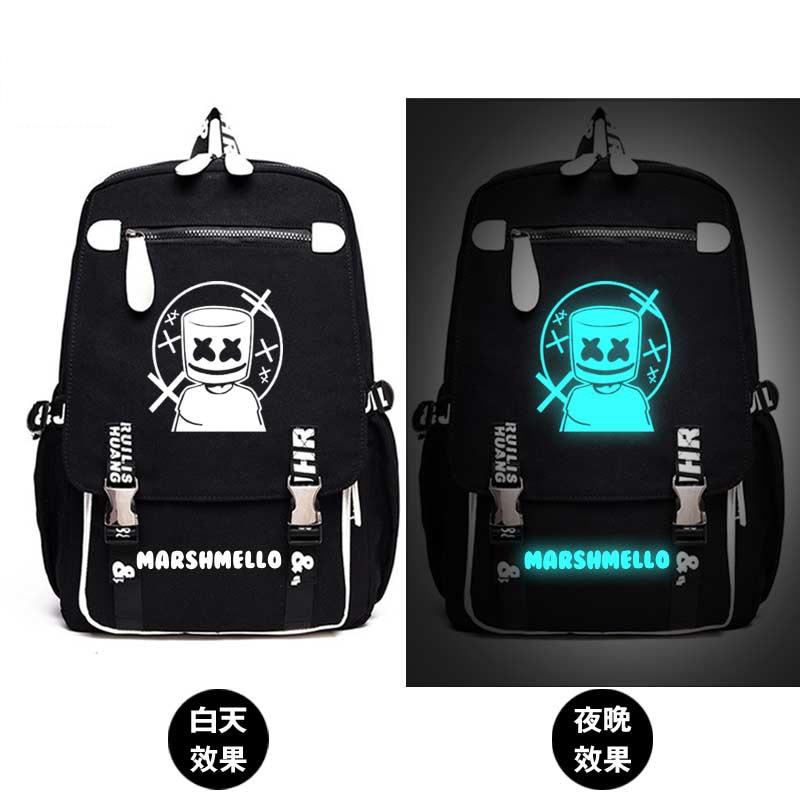 Marshmello Skrillex Dj Backpack School Bag Print Luminous Backpack Bag Mochila Glow In The Dark School Student Bag Boy Girl Gift