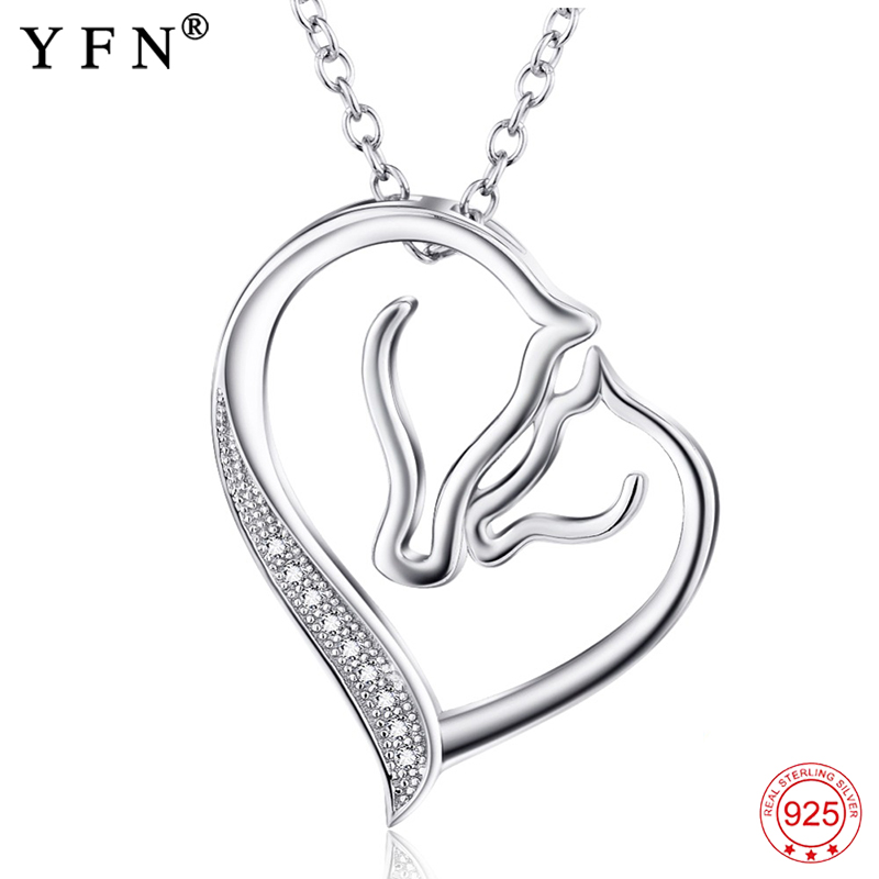 925 Sterling Silver Necklace Jewelry Collier Crystal Heart Horse Head Pendants Necklaces Fashion Women jewelry Gifts GNX0486