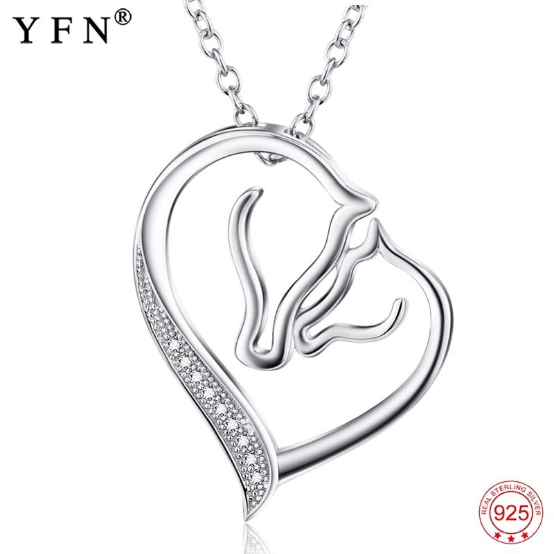 925 ezüst nyaklánc ékszer Collier kristály szív ló fej medálok nyakláncok divat női ékszerek ajándékok GNX0486
