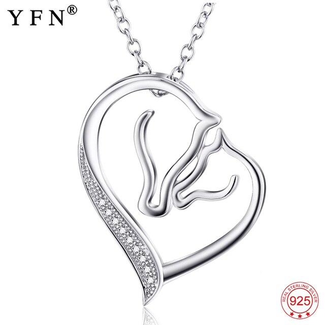 YFN 925 argent Sterling maman et bébé bois collier bijoux cubique Zircon pendentif colliers S925 chaîne cadeau maman cadeau fête des mères