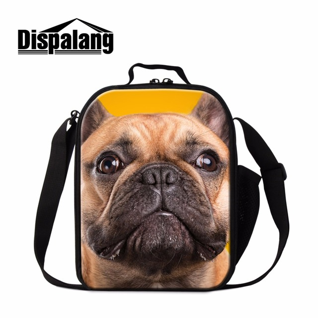 Cute Dog Printed Insulated Lunch Bags for Girls School Lovely Bulldog Lunch Coolers for Children Boys Messenger Lunch Containers