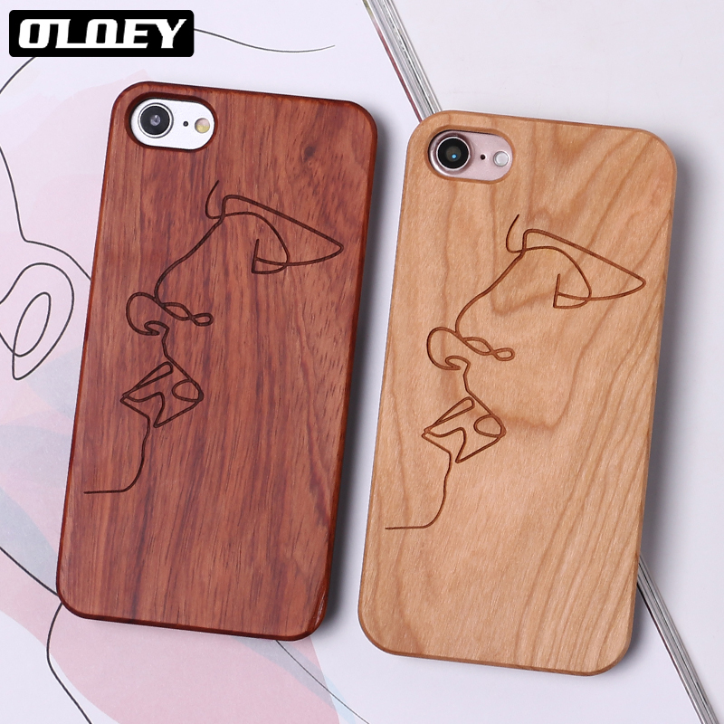 OLOEY Abstract Lover Face Black Real Wood Hard Case Fundas Coque Cover For iPhone 6 6S 5 5S SE 8 8Plus X 7 7Plus SAMSUNG S8