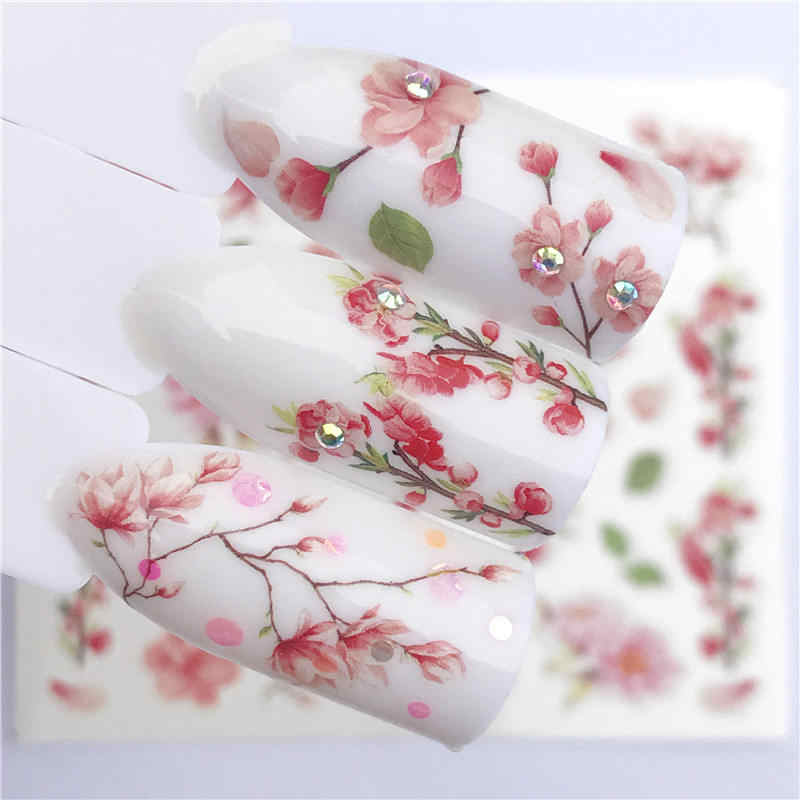 FWC 1 PC Transparent Color Flower Water Transfer Sticker Nail Art Decals DIY Fashion Wraps Tips Manicure Tools