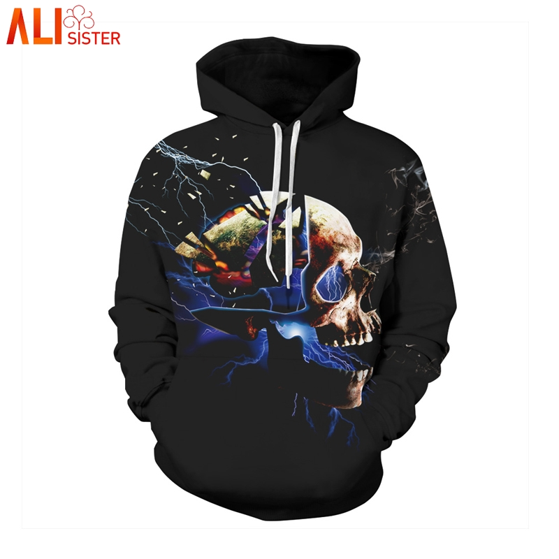 34c3ec62101 Aliexpress.com   Buy Alisister Funny Skull Hoodies 3d Print Men Women Plus  Size Hip Hop Sweatshirts Punk Thin Streetwear With Cap Masculino Dropship  from ...