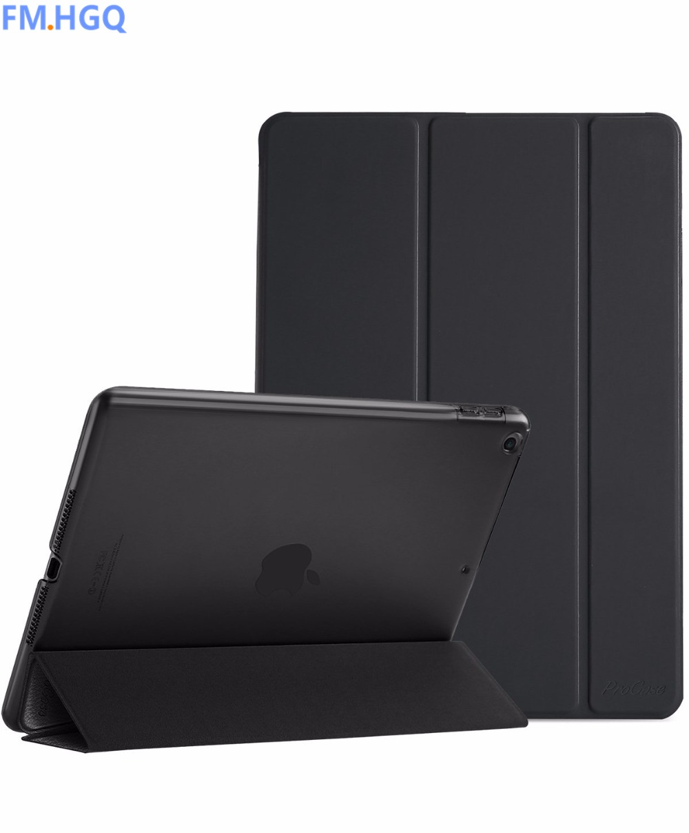 For New iPad 9.7 Case 2017 Ultra Slim Lightweight Stand Case with Translucent Frosted Back Smart Cover for 2017 New iPad 9.7Inch back shell for new ipad 9 7 2017 genuine leather cover case for new ipad 9 7 inch a1822 a1823 ultra thin slim case protector