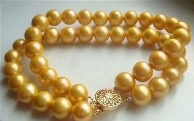 "9-10MM SOUTH SEA AAA GOLDEN PEARLS BRACELET 7.5"" >bead charm body jewelry charm jewelry"