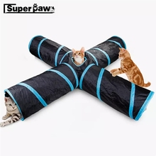 Funny Pet Tunnel Cat Play 2/3/ Holes Brown Foldable Cats Tunnels Kitten Toy Bulk Toys Rabbit Cave MDT08