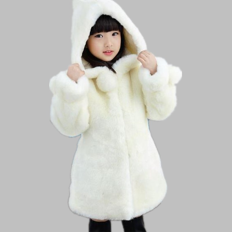 Furry Luxury Faux Rabbit Fur Coats 2018 Winter Jackets For Girls Baby Clothes Parka Infant Thicker Long Clothing Outerwear N208