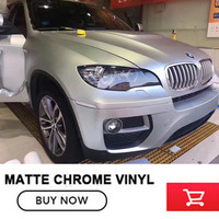 1 52m 20m High Quality Matte Chrome Satin Metallic Silver Vinyl Silver Satin Metal Wrap Roll